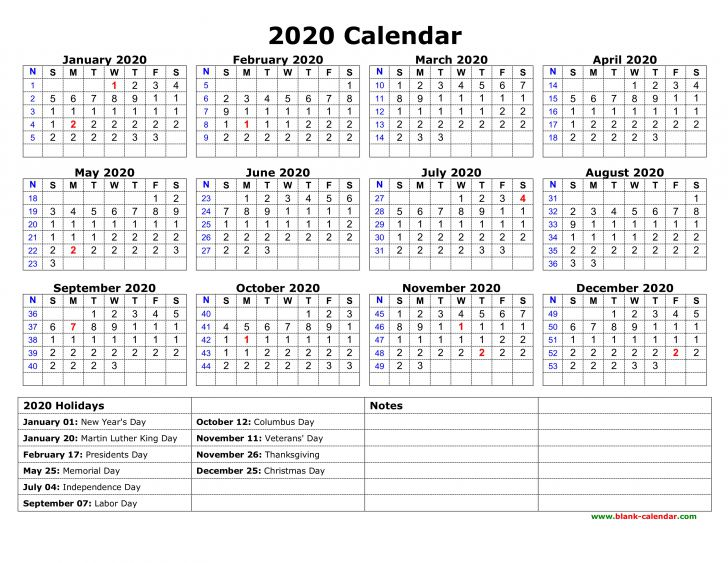 Printable 2020 Yearly Calendar with Holidays