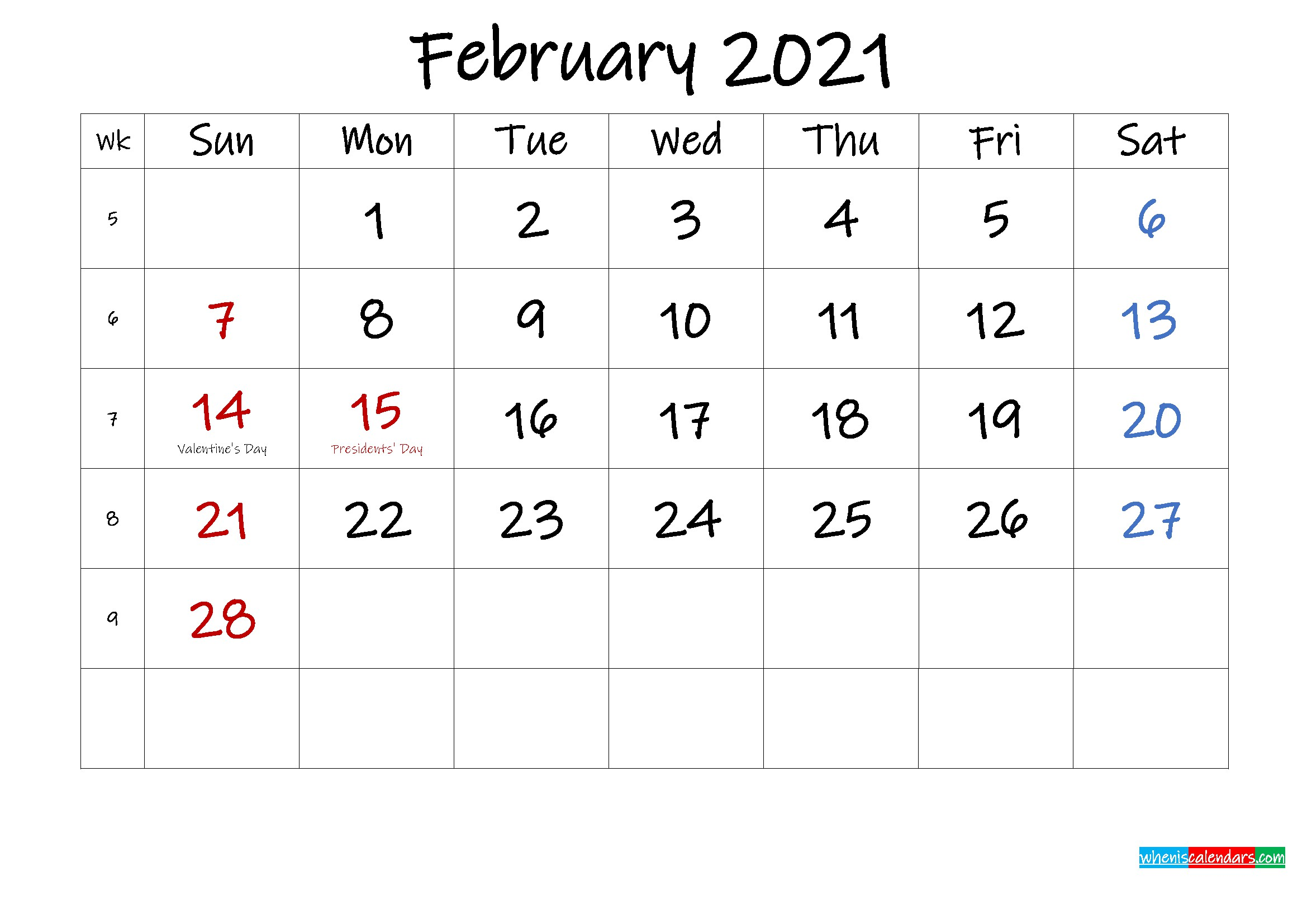 30 Free February 2021 Calendars for Home or fice edesb