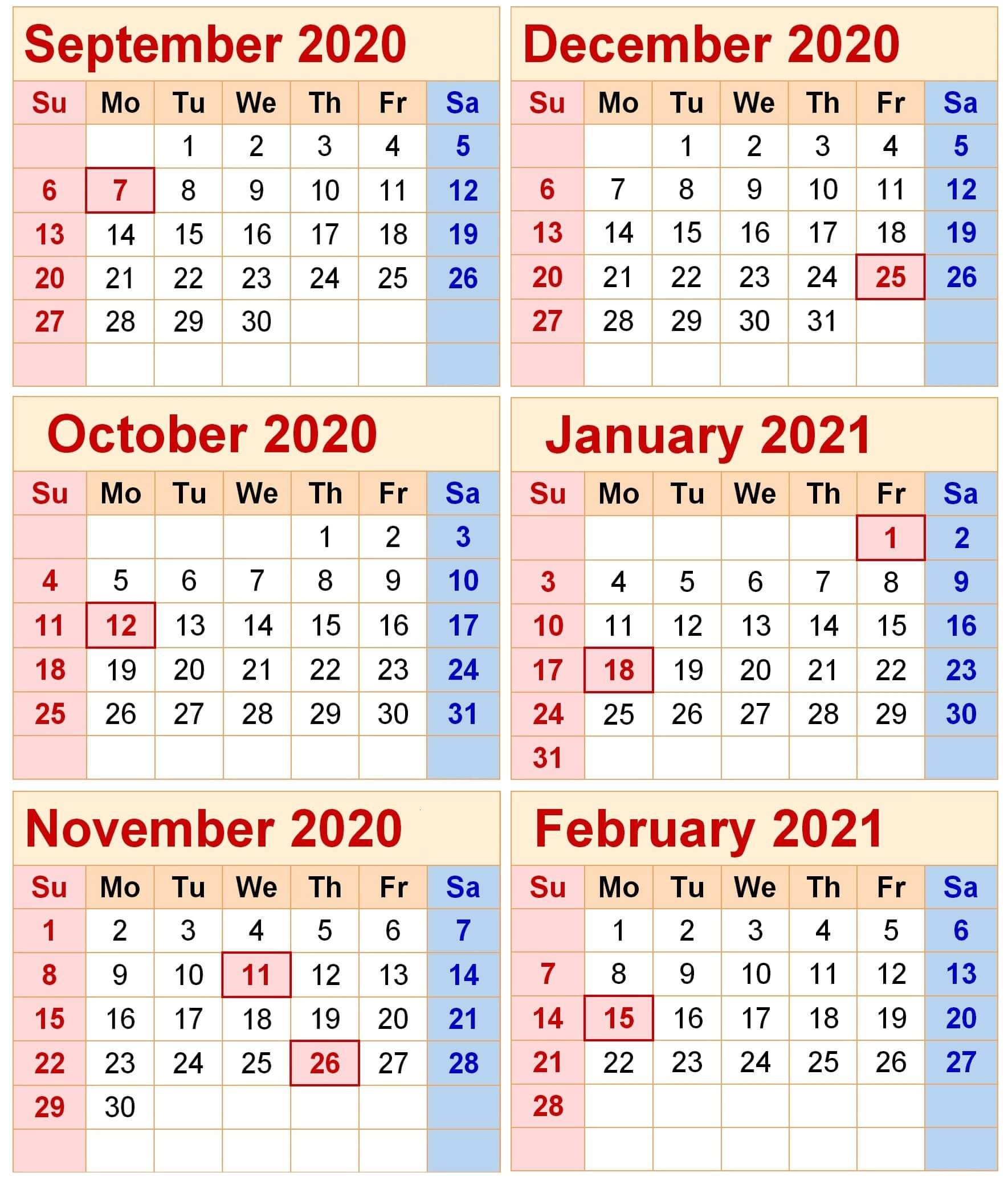 Free September 2020 To February 2021 Calendar Word with Note